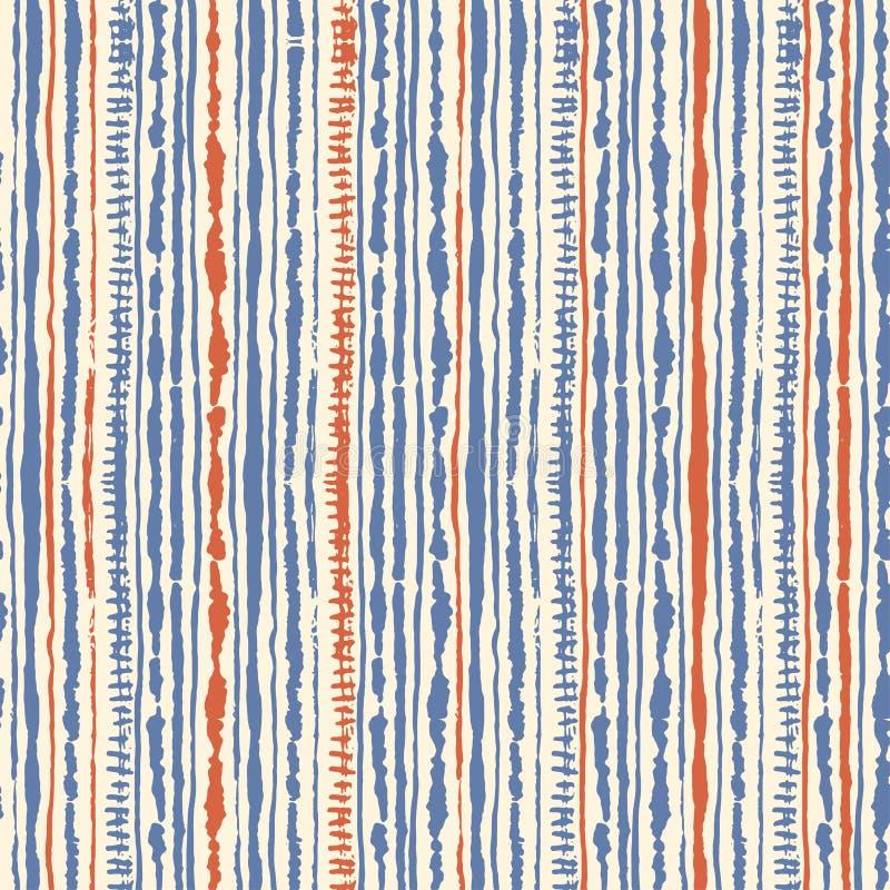 Modello senza cuciture della legame-tintura di shibori di vettore dei colori blu e rossi su bianco Tessuti della pittura della ma illustrazione di stock