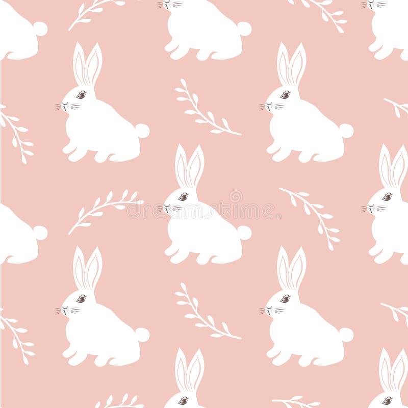 Modello senza cuciture della lepre Piccolo coniglietto sveglio su un fondo rosa Progettazione sveglia del coniglio per tessuto e  royalty illustrazione gratis