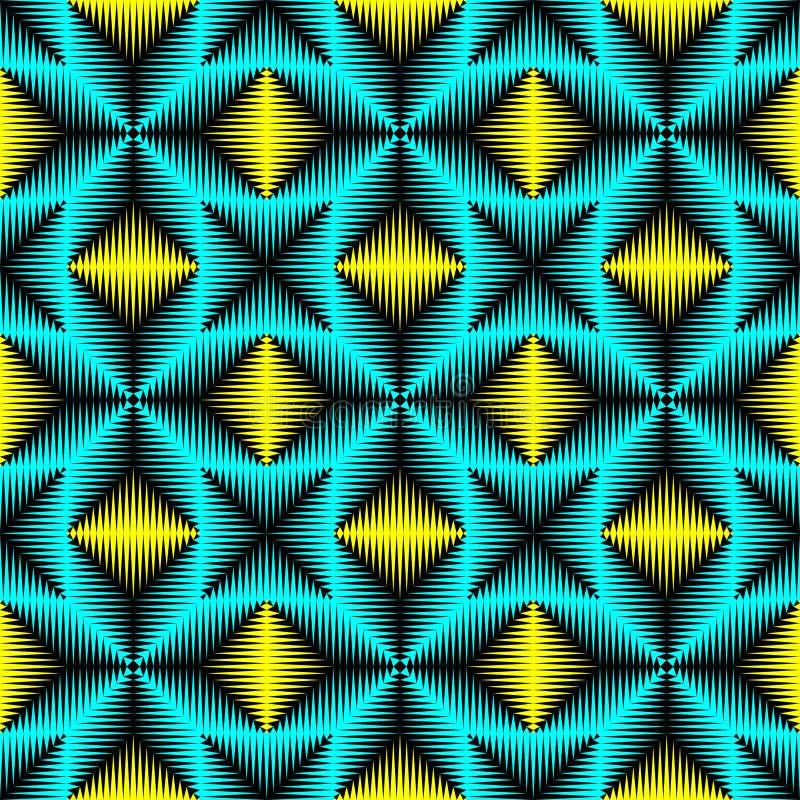 Modello senza cuciture della luce al neon Priorità bassa blu e gialla astratta illustrazione vettoriale