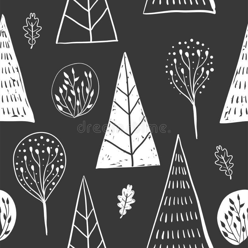 Modello senza cuciture della mano disegnato sketh semplice della foresta con l'albero, fogliame, conifero, attillato, abete Per l royalty illustrazione gratis