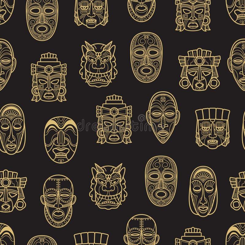 Modello senza cuciture della maschera tribale storica africana e dell'Azteco indiano royalty illustrazione gratis
