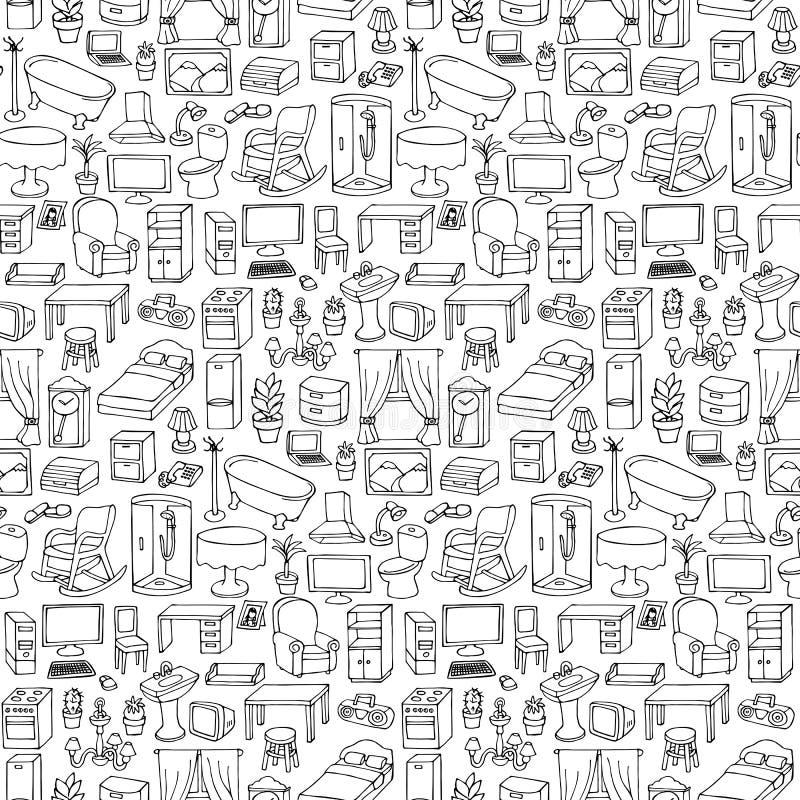 Modello senza cuciture della mobilia domestica illustrazione di stock