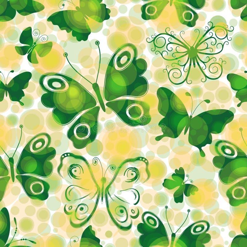 Modello senza cuciture della molla chiazzata con le farfalle verdi illustrazione vettoriale