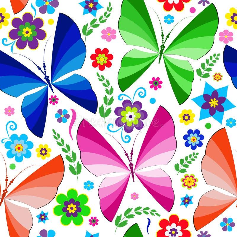 Modello senza cuciture della molla con le farfalle ed i fiori luminosi royalty illustrazione gratis