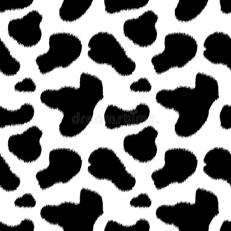 Modello senza cuciture della mucca della stampa animale in bianco e nero della pelle, vettore illustrazione di stock