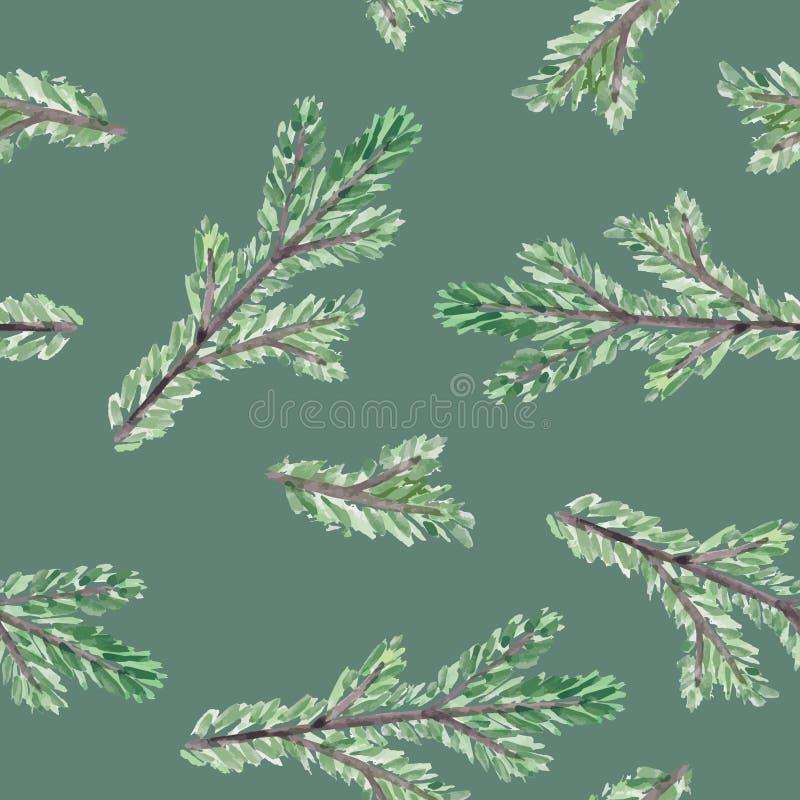 Modello senza cuciture della natura del fondo di Natale Rami disegnati a mano dell'acquerello dell'albero sempreverde di abete o  illustrazione vettoriale