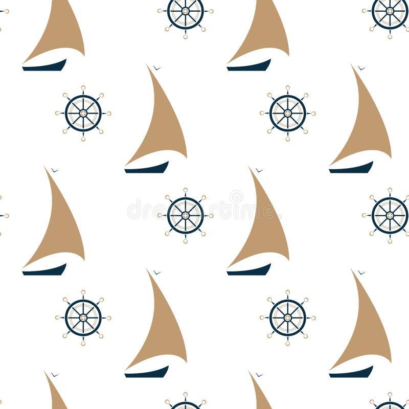 Modello senza cuciture della nave di navigazione e del volante illustrazione vettoriale