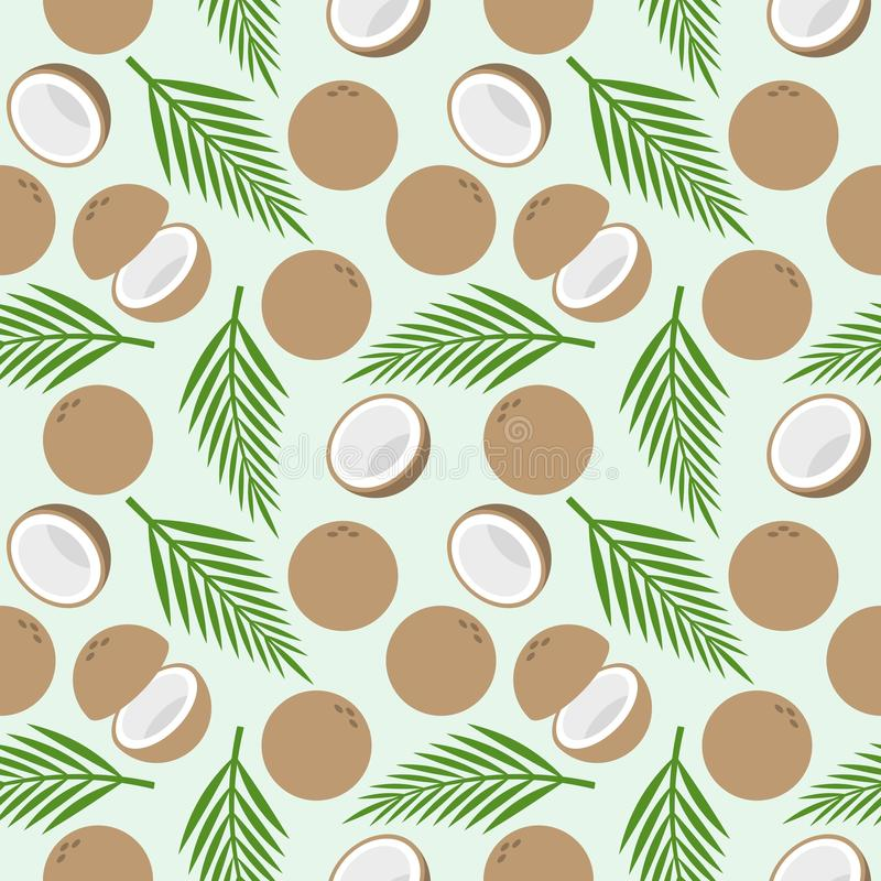 Modello senza cuciture della noce di cocco, tema dell'isola per la carta da parati o avvolgersi illustrazione di stock