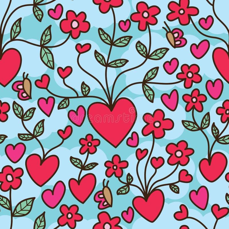Modello senza cuciture della nuvola di floricultura di amore royalty illustrazione gratis