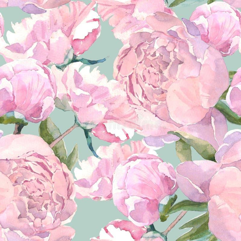Modello senza cuciture della peonia d'annata elegante misera, fondo floreale classico di ripetizione per il web e stampa Disegno  illustrazione vettoriale