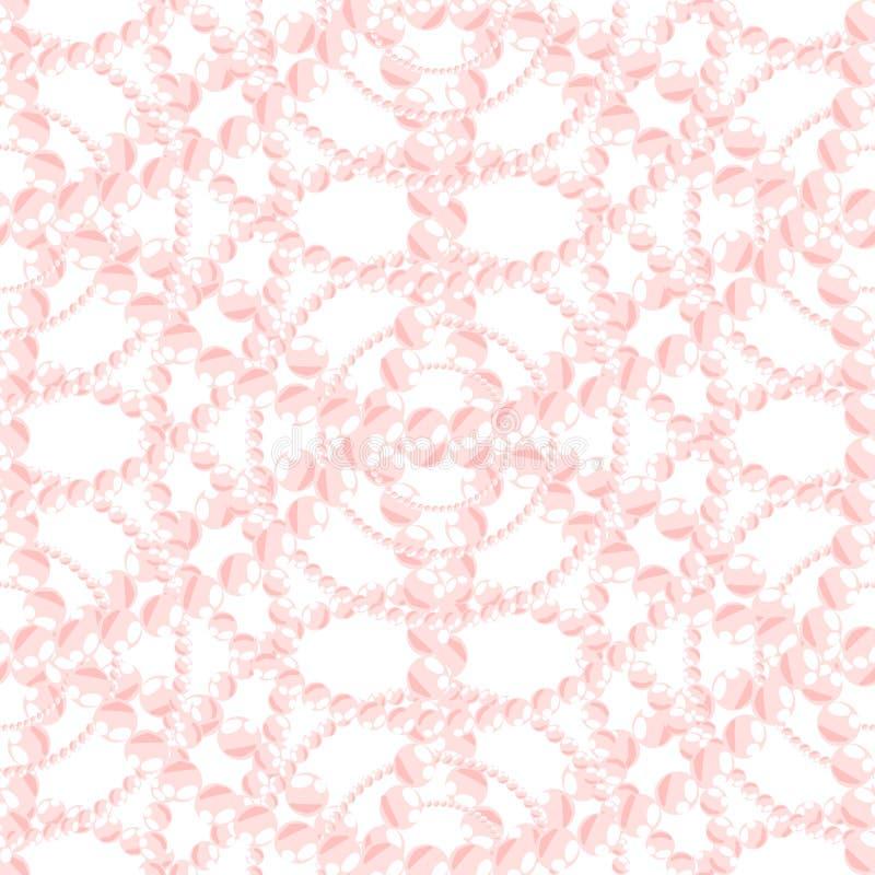 Modello senza cuciture della perla dei gioielli Nacreous di rosa illustrazione vettoriale