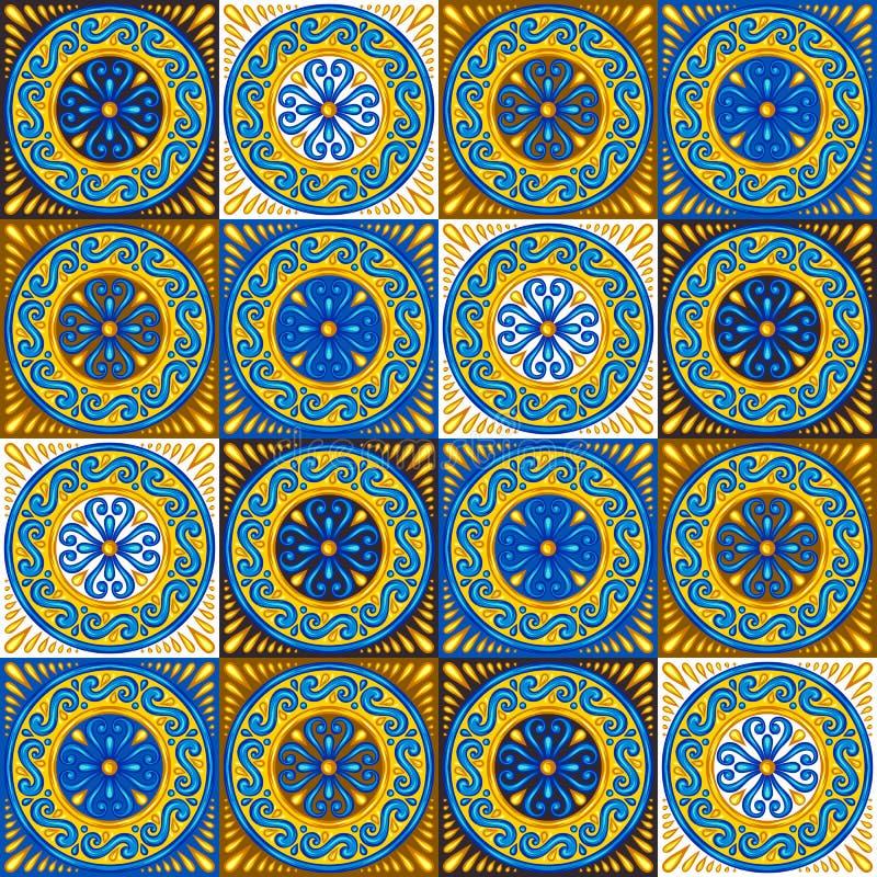 Modello senza cuciture della piastrella di ceramica marocchina illustrazione vettoriale