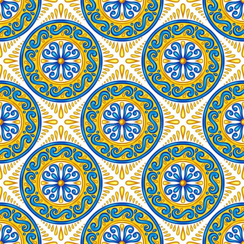 Modello senza cuciture della piastrella di ceramica marocchina illustrazione di stock