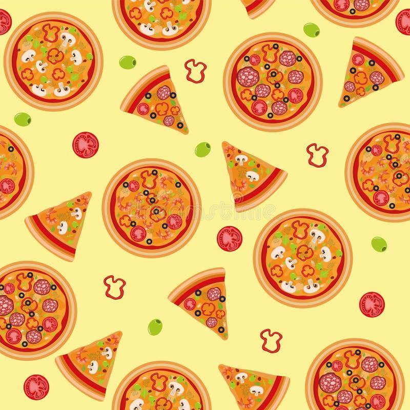Modello senza cuciture della pizza con gli ingredienti illustrazione vettoriale