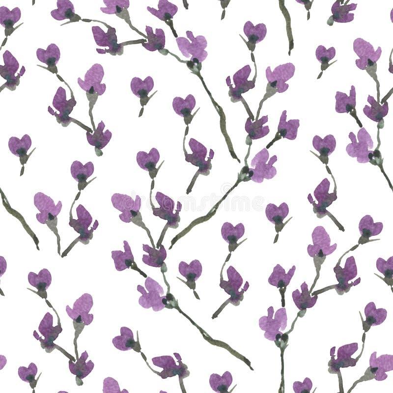Modello senza cuciture della primavera dell'acquerello, rami di fioritura della ciliegia illustrazione di stock