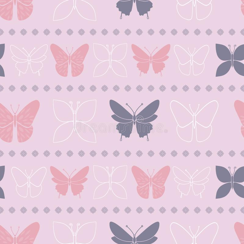 Modello senza cuciture della primavera lilla della farfalla illustrazione vettoriale