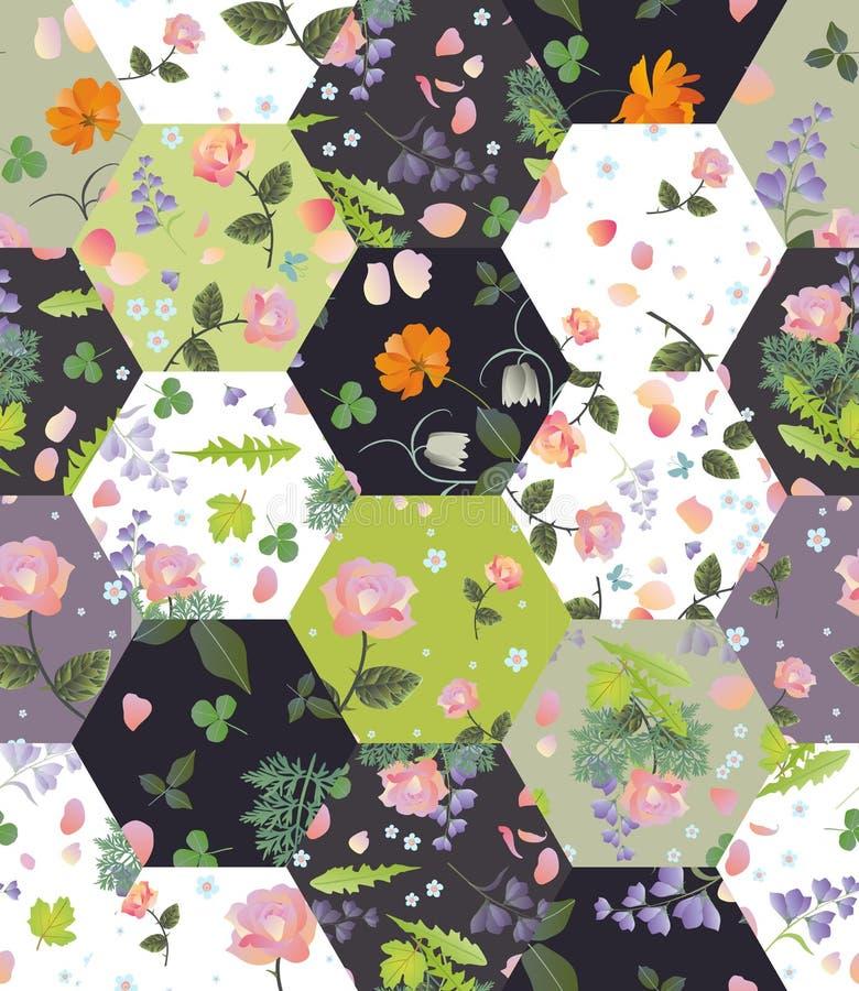 Modello senza cuciture della rappezzatura con i bei fiori e foglie di estate Progettazione della trapunta illustrazione vettoriale