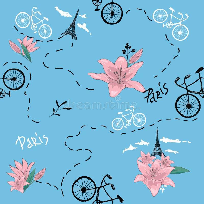 Modello senza cuciture della retro bici Illustrazione di vettore per progettazione di trasporto della bicicletta Modello luminoso royalty illustrazione gratis