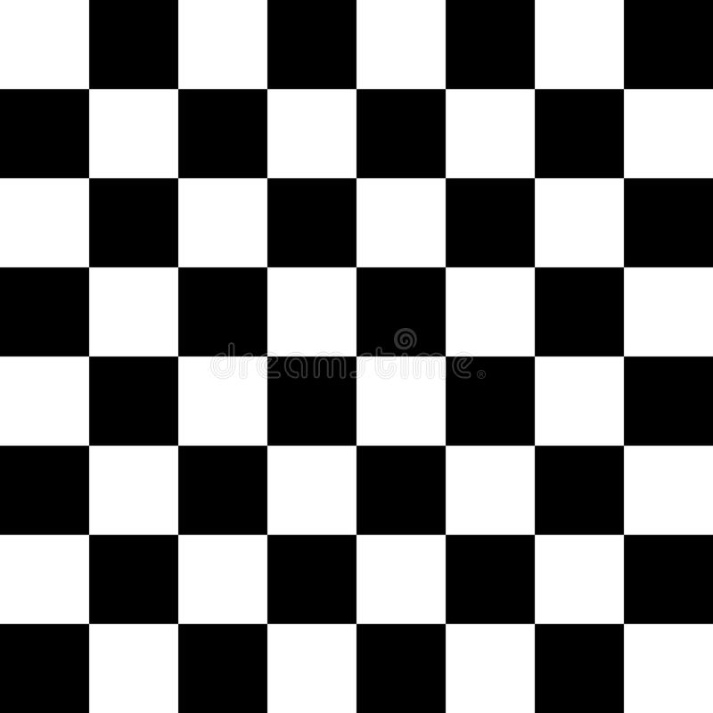 Modello senza cuciture della scacchiera o della scacchiera in bianco e nero Bordo a quadretti per scacchi o il gioco dei controll illustrazione vettoriale