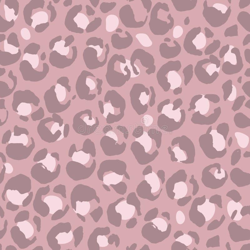 Modello senza cuciture della stampa del leopardo dell'illustrazione di vettore Fondo disegnato a mano porpora royalty illustrazione gratis
