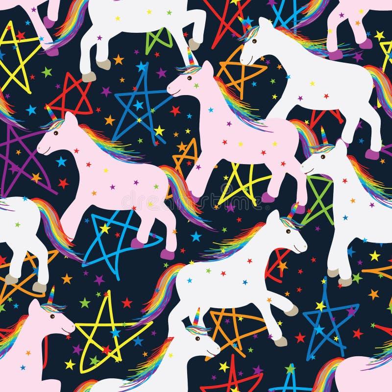 Modello senza cuciture della stella dell'unicorno royalty illustrazione gratis