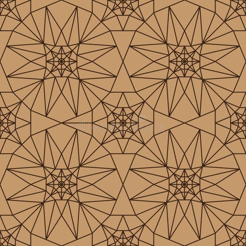modello senza cuciture della stella 8 di marrone di simmetria laterale di colore illustrazione di stock