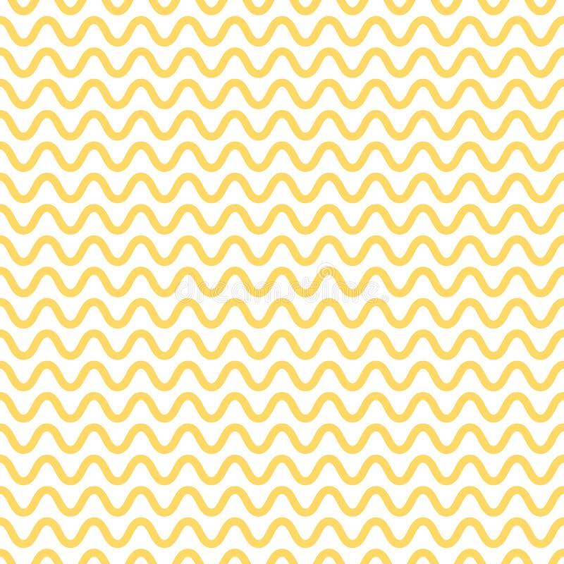 Modello senza cuciture della tagliatella Onde di bianco e gialle Priorità bassa ondulata astratta Vettore illustrazione di stock