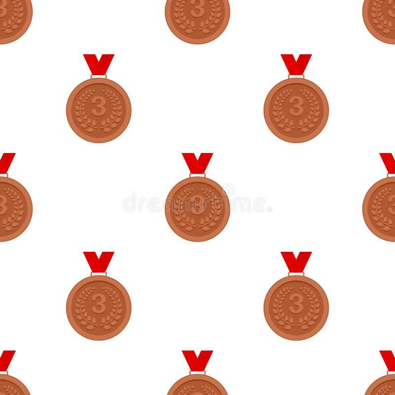 Modello senza cuciture della terza del posto icona della medaglia royalty illustrazione gratis