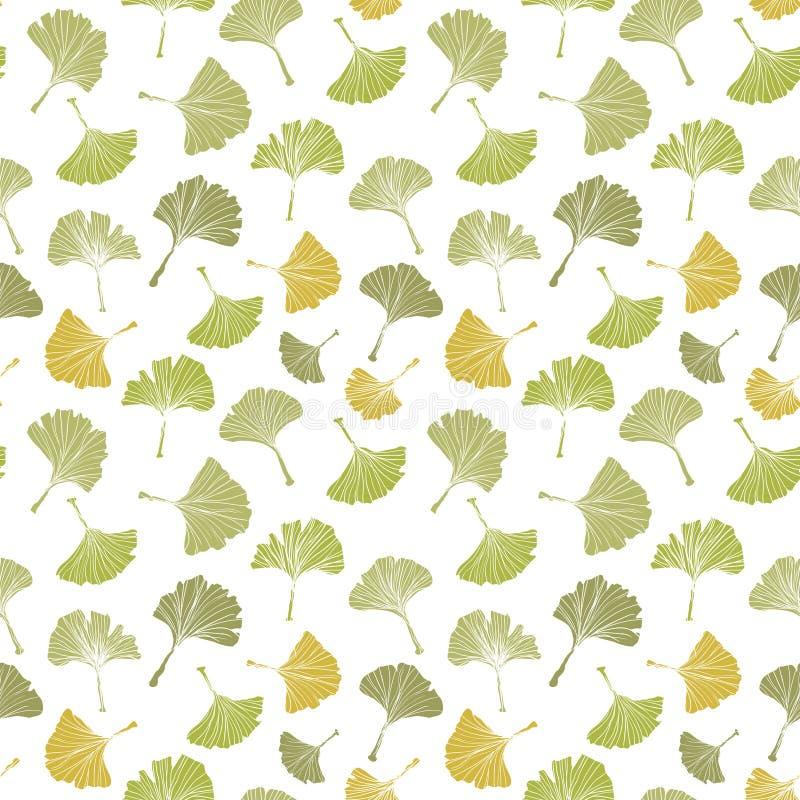 Modello senza cuciture della tovaglia della foglia del ginkgo biloba Siluetta delle foglie con i veinlets bianchi Illustrazione i illustrazione di stock