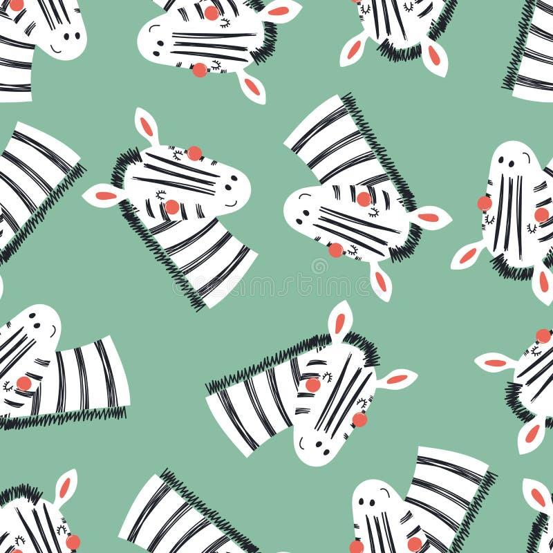 Modello senza cuciture della zebra sveglia royalty illustrazione gratis