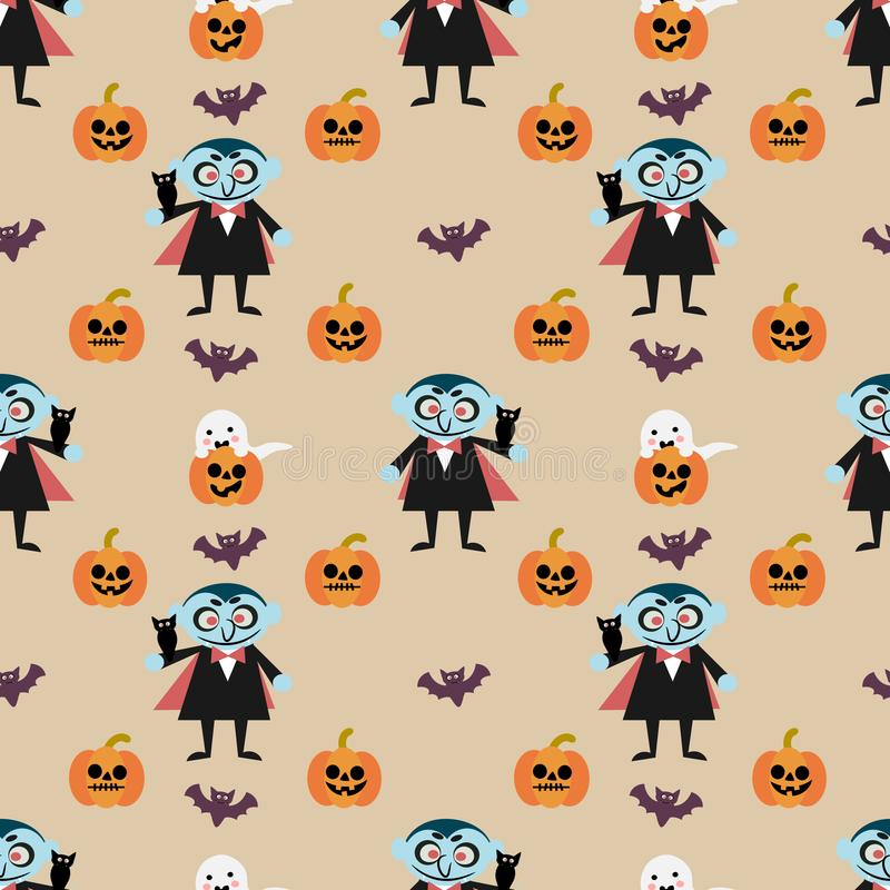 Modello senza cuciture della zucca di Halloween e del vampiro illustrazione di stock