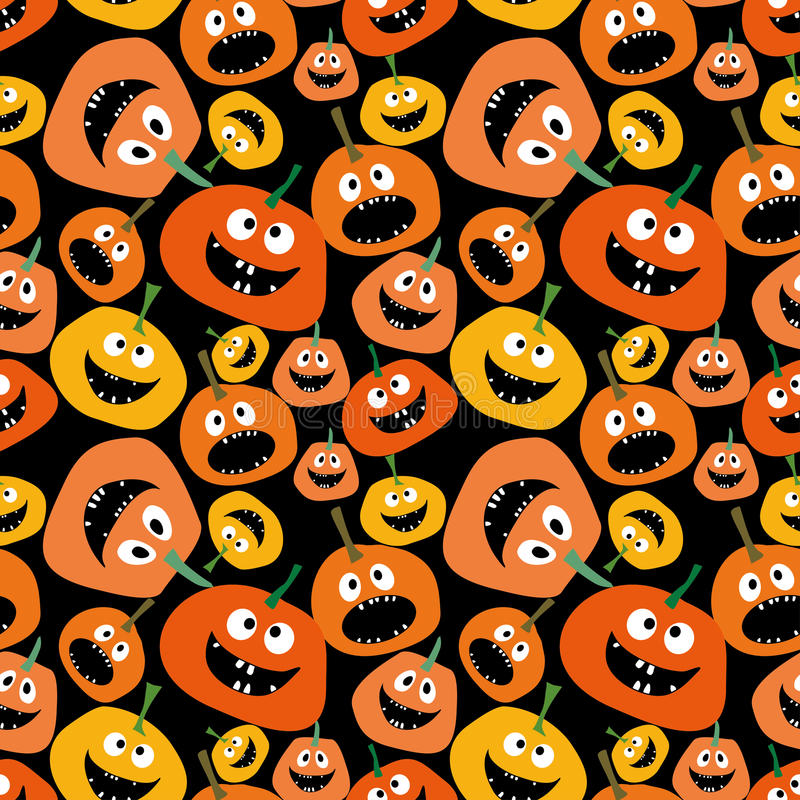 Modello senza cuciture della zucca sul fondo nero del fondo per il fondo senza cuciture della zucca della zucca gialla ed arancio illustrazione vettoriale