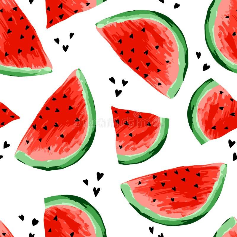 Modello senza cuciture delle angurie Fette di anguria, fondo della bacca Frutta dipinta, arte grafica, fumetto illustrazione vettoriale