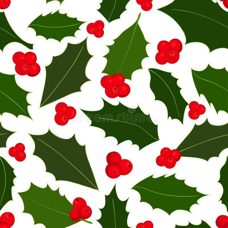 Modello senza cuciture delle bacche dell'agrifoglio di Natale Illustrazione di vettore royalty illustrazione gratis