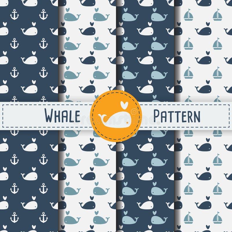 Modello senza cuciture delle balene sull'illustrazione blu del fondo fotografia stock