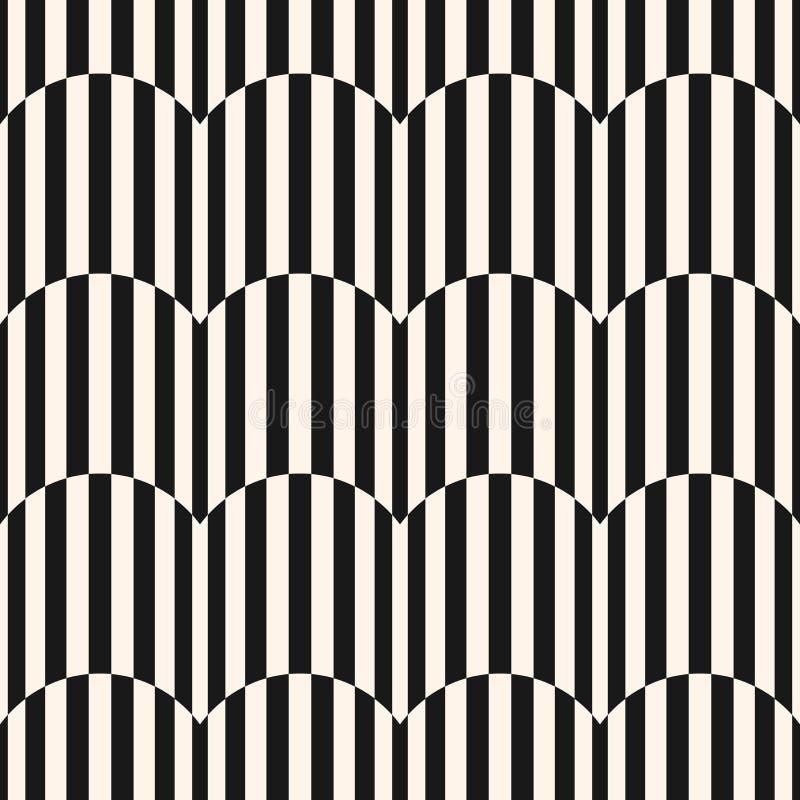 Modello senza cuciture delle bande in bianco e nero Linee ondulate struttura di vettore illustrazione di stock