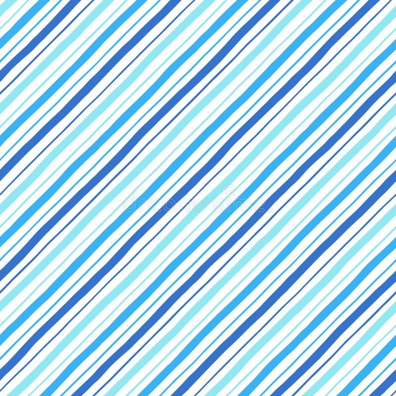 Modello senza cuciture delle bande blu di stile di scarabocchio di parallelo della diagonale illustrazione di stock