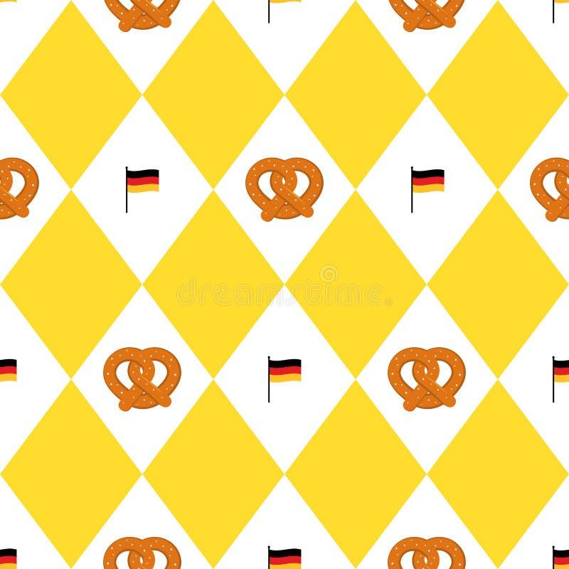 Modello senza cuciture delle bandiere e delle ciambelline salate di festival della birra di Monaco di Baviera Fondo di Oktoberfet royalty illustrazione gratis