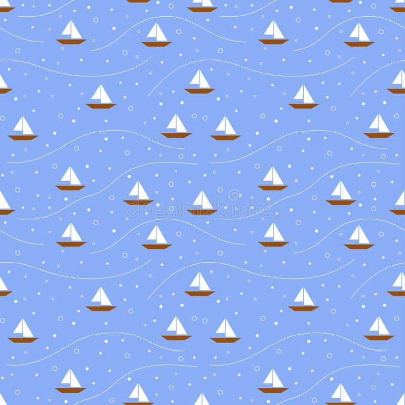 Modello senza cuciture delle barche illustrazione di stock