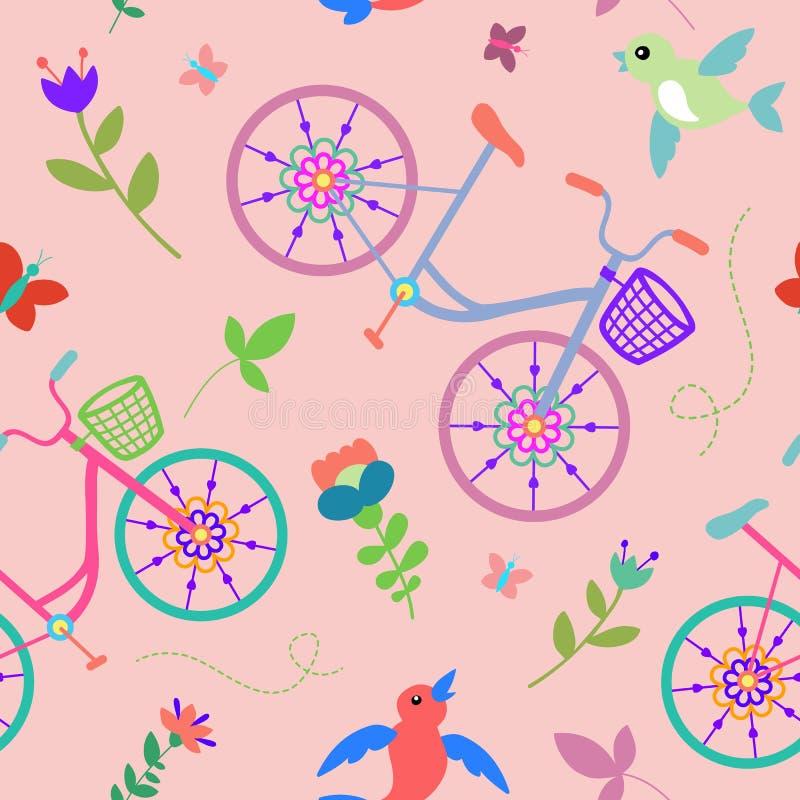 Modello senza cuciture delle belle biciclette variopinte sveglie con i fiori ed uccelli e ruote decorative illustrazione di stock