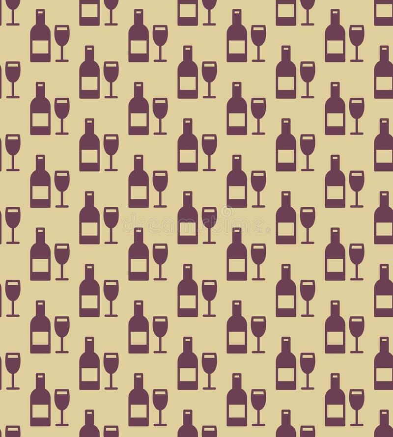 Modello senza cuciture delle bottiglie e di vetro di vino royalty illustrazione gratis