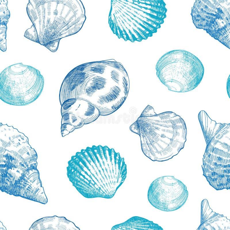 Modello senza cuciture delle conchiglie per la vostra progettazione di vita dell'oceano illustrazione vettoriale
