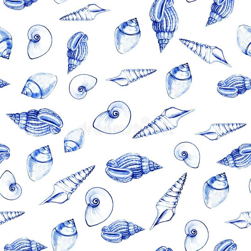 Modello senza cuciture delle conchiglie su fondo bianco Grafici manuali Progettazione per gli ambiti di provenienza, le carte da  fotografia stock libera da diritti