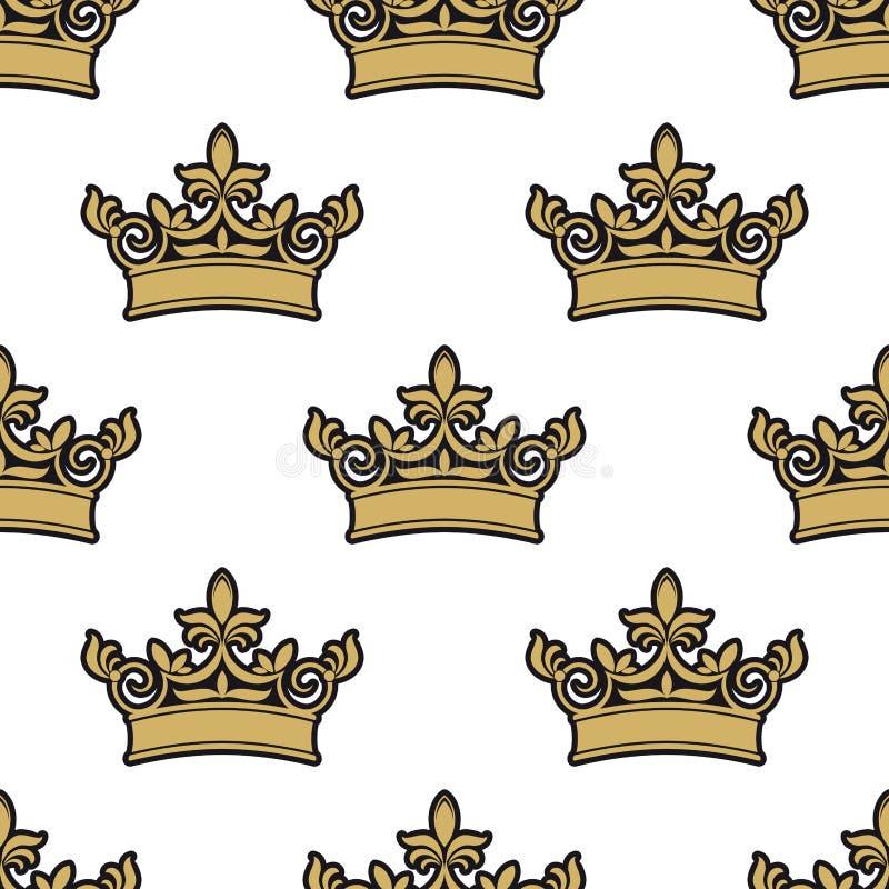 Modello senza cuciture delle corone reali dorate royalty illustrazione gratis