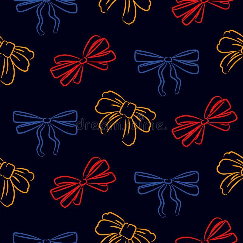 Modello senza cuciture delle cravatte a farfalla disegnate a mano Il vettore nero del fondo ha schizzato la struttura dell'icona royalty illustrazione gratis