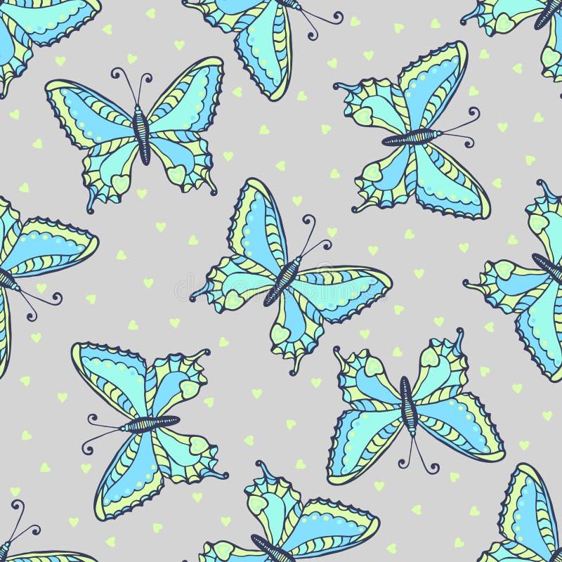 Modello senza cuciture delle farfalle blu su colore di grey di modo Illustrazione disegnata a mano di vettore della farfalla per  royalty illustrazione gratis