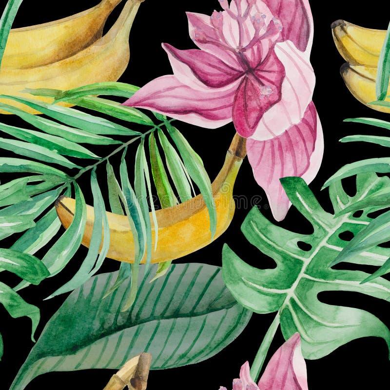 Modello senza cuciture delle foglie di palma dettagliate, monstera, frutta dell'acquerello della banana, illustrazione vettoriale