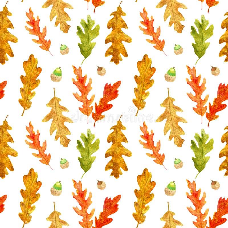 Modello senza cuciture delle foglie e delle ghiande della quercia di autunno dell'acquerello illustrazione vettoriale