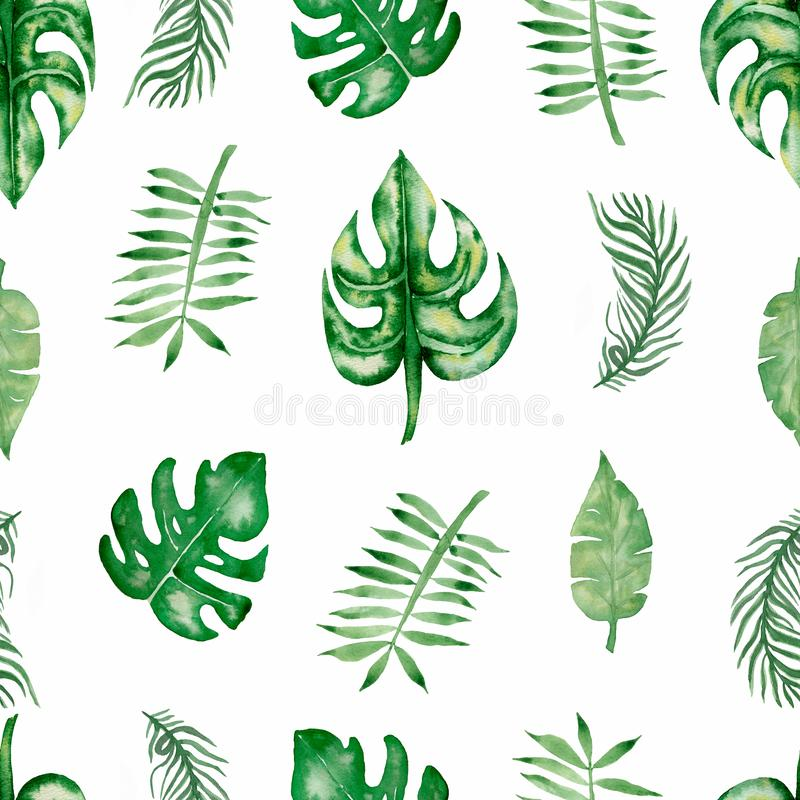 Modello senza cuciture delle foglie tropicali dell'acquerello Bella foglia tropicale variopinta disegnata a mano illustrazione di stock