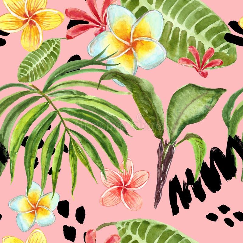Modello senza cuciture delle foglie tropicali dell'acquerello Foglia di palma dipinta a mano, fiori esotici di plumeria e fogliam royalty illustrazione gratis